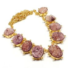 22 Carat Gold Polish PurpleColor Sugar Oval ShapeAgate Druzy Small Round Fashion Necklace