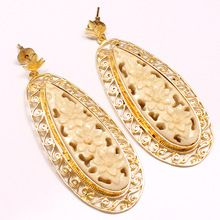 22 ct Gold Plating Leaf Shape White Color Beautiful Designer Studs Vintage Earing
