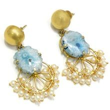 Agate Solar Quartz Vintage Beautiful Handmade Pearl Kissed Earring