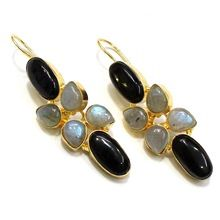 Black-onyx Labradorite Pear Shape Vintahe Beautiful Handmade Earring