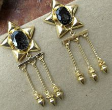 Black Rutile With Bullet Hanging Earring Beautiful Vintage Statement Earring