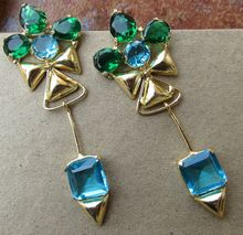 Blue and Green Color Treated Gemstones Long Hook Beautiful Earring
