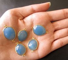 Blue Chalcedony Bezel Setting Loop 22 Ct Gold Plated Bezel Setting Connectors