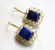 Blue Lapis with Small Round Rose Quartz Prone Setting Handmade Stud Earring