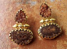 Brown Color Sugar And Solar Quartz Bullet Handmade Earring