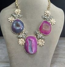 Druzy Leaf Vintage Beautiful Statement Handmade Necklace