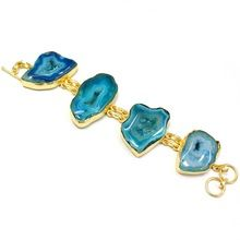 Gold Plated Agate Slice Charms Simple Bracelets