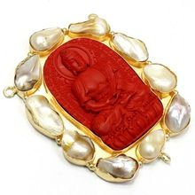 Gold Plated Lord Buddha Pearl Pendants