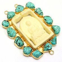 Gold Plated Lord Buddha Turquise Pendants