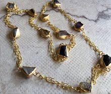 gold polish Rough Stone Long Chain Endless Necklace With Thin Chain