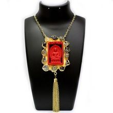 Lord Buddha Carving Surriunded With Rough Stone Necklace