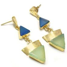Milky-Aqua With Blue Chalcedony Trillion Shape Beautiful Handmade Earring