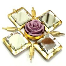 Mirror Glass Stone With Flower Beautiful Handmade Pendants