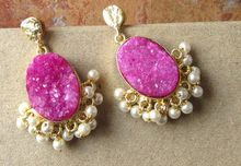 Pink Oval Shape Pearl Kissed Earring Beautiful Vintage Statement Earring