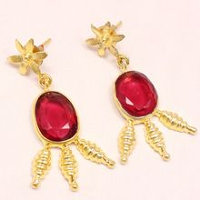 Red Color Glass Stud 22 Ct Oval Shape Beautiful Vintage Statement Earring