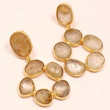 Rutiled Quartz Round Circle With Hole Beautiful Vintage Statement Earring