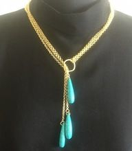 Turquoise Pencil Shape 22 Carat Gold Plated Long Chain Necklace
