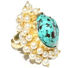 Turquoise Stone Pearl Strings Cocktail Jewelry Ring