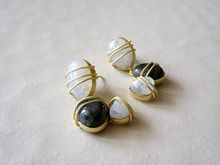 White And Black Rainbow Cabchons Handmade Earring