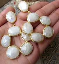 White Moonstone Round Circle 6 Stone Beautiful Vintage Statement Earring
