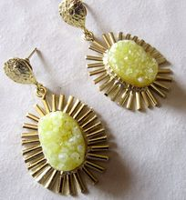 Yellow Oval Shape Spike with Cap Beautiful Vintage Statement Earring