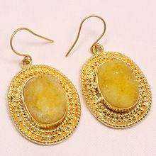 Yellow Oval Shape With Rounded Metal Handmade Beautiful Vintage Statement Earring