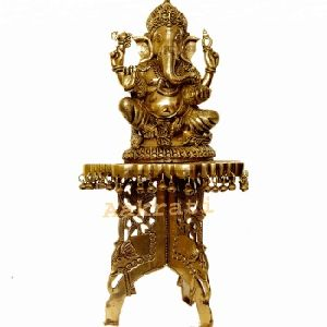 Brass Chowki With Ganesha