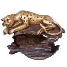 Tiger Sitting on tree with under basket metal brass statue