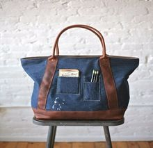 Denim  Leather Carryall Tote Bag