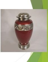 BURGUNDY COLOR PURE BRASS URN