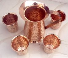 COPPER EMBOSSED TUMBLERS FOR WATER