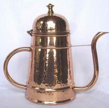 Copper hammered finish polished water kettle