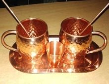 COPPER MOSCOW MULE DRINKING MUGS WITH STRAWS