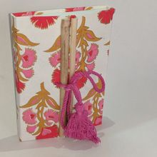 flower printed cream colour handmade paper diary