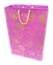 purple gold flora design handmade paper bag