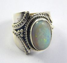 Natural Australian opal silver ring
