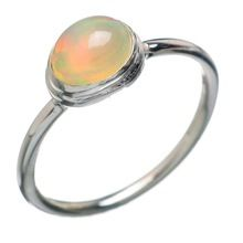 Natural ethiopian opal Oval gemstone ring
