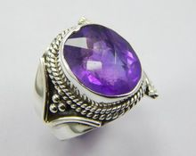 Natural faceted amethyst Antique Style ring