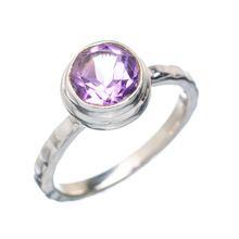 Natural Faceted small Amethyst sterling silver ring