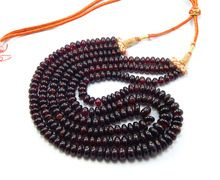 Natural Rhodonite Garnet Rondelle Beads Necklace