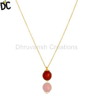 Gold Plated Red Onyx Gemstone Pendant