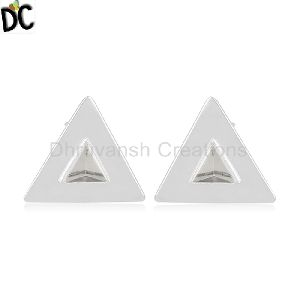 Natural Crystal Quartz Gemstone Triangle Earring