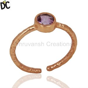 Rose Gold Plated Silver Womens Ring