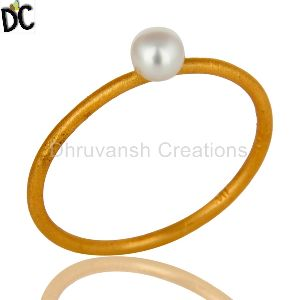 White Pearl Stackable Ring
