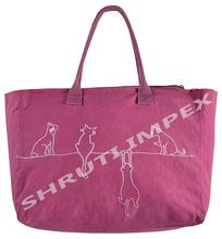 LEATHER HANDLE SHOPPING BAG