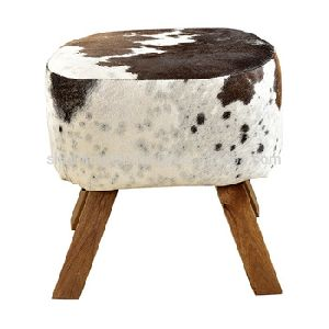 Leather Wooden Footrest Stools