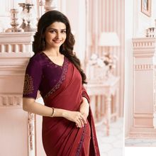 silk with Stone saree-Purple