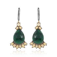 Gold Emerald Silver Earrings