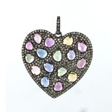 Multi-Gemstone Diamond Heart Shape Pendant