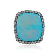 Pave Diamond Opal Gemstone Silver Ring